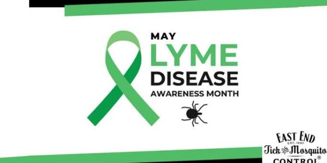 """The words """"May Lyme Disease Awareness Month"""" on a white background with the East End Tick Control logo."""