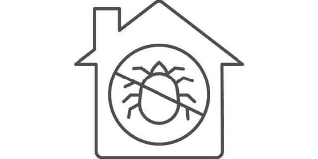 A cartoon image of a tick inside of a home.